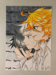 The Promised Neverland: Emma, Norman and Ray by ArtbyBridget