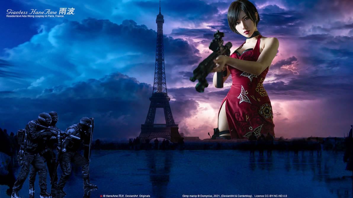 Giantess 157 Hane Ame in Paris. Eiffel Tower