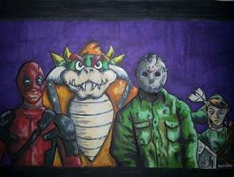 Odd balls Deadpool, Jason, Bowser and Link
