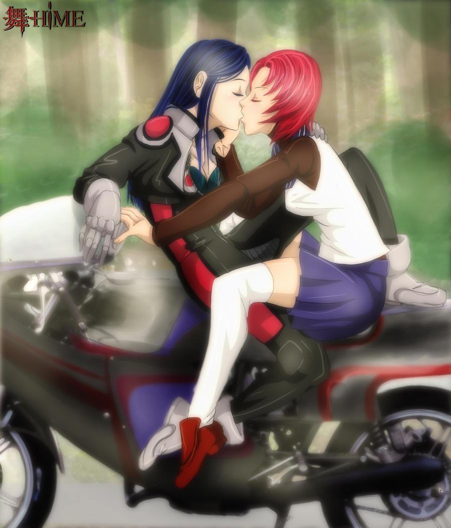 Natsuki and Nao on the Bike by mandygirl78