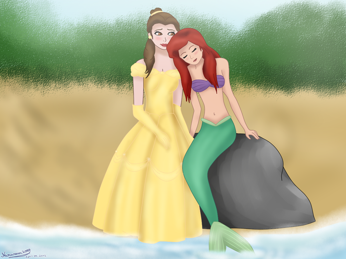 Ariel and Belle at the Beach by mandygirl78