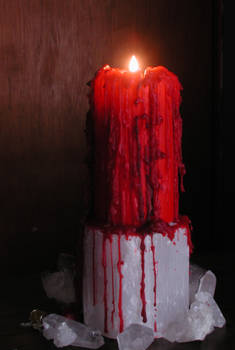 Dripping Red Candle w Crystals