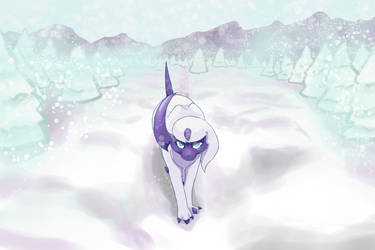 Absol in the Snow by Freee-way