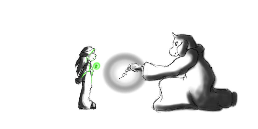 Fourth Child Green Heart Sketch by Zelda206