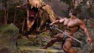 Barbarian-Hero meets Dino-Monster