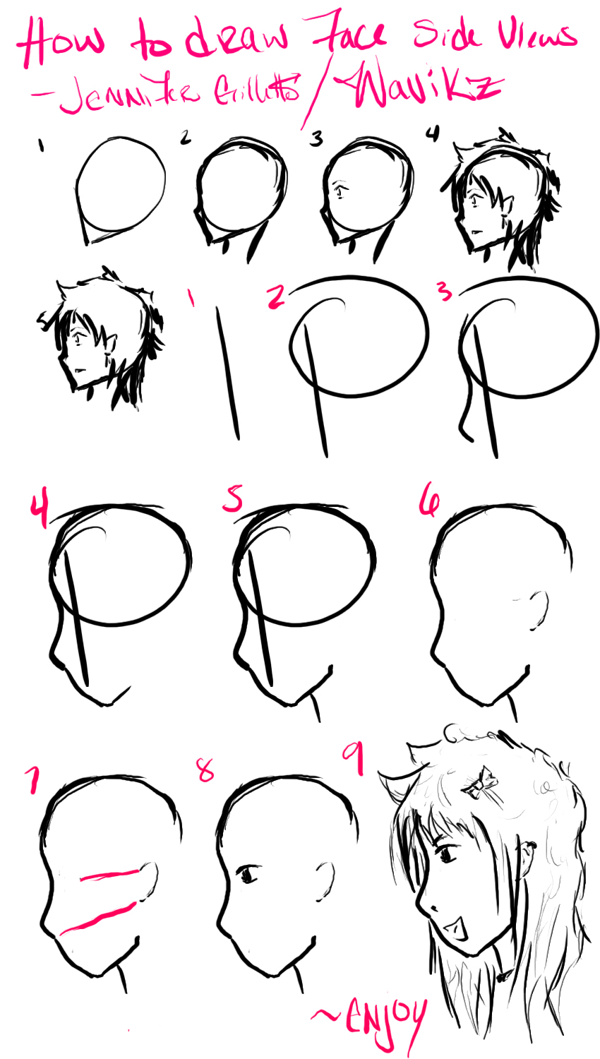 It is a picture of Exceptional Side Face Drawing Anime