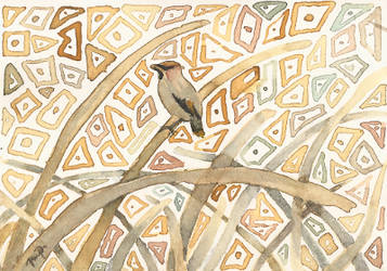 aceo waxwing for phoeline by kailavmp