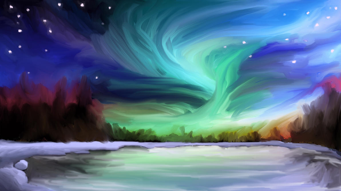 Northern Lights   Digital Painting By BobTheViking01 ...