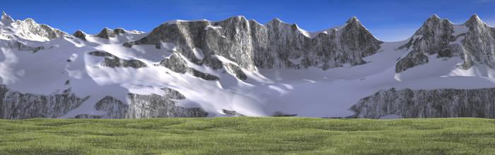 Mountain with grass WIP by brektzar