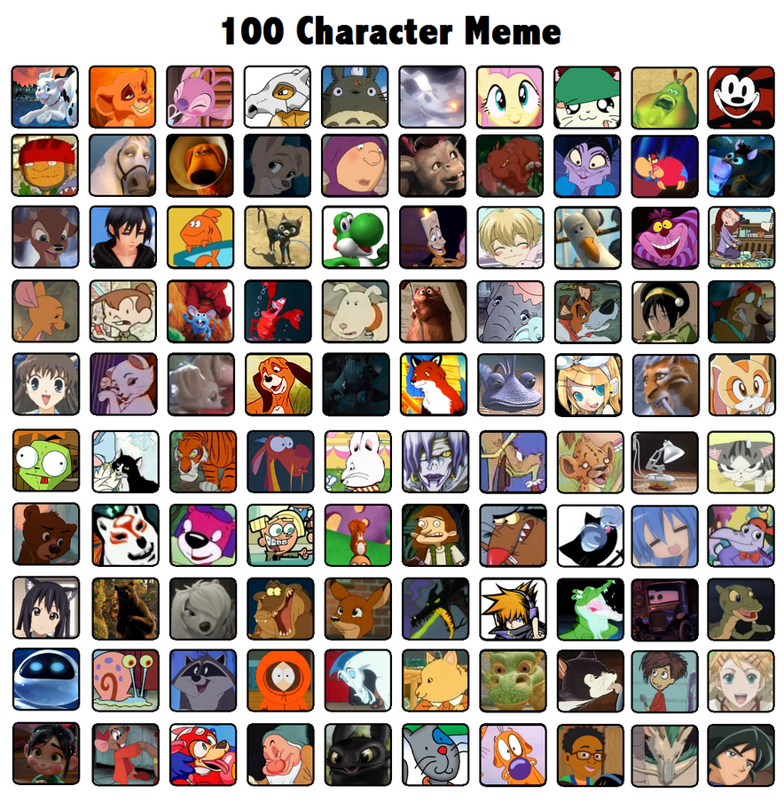 Cartoon Characters 3 100 Pics : Character meme by biscuit rawr on deviantart