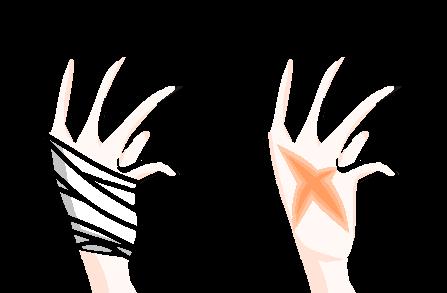 Scarred and Bandaged Hand by VanillaRinChii