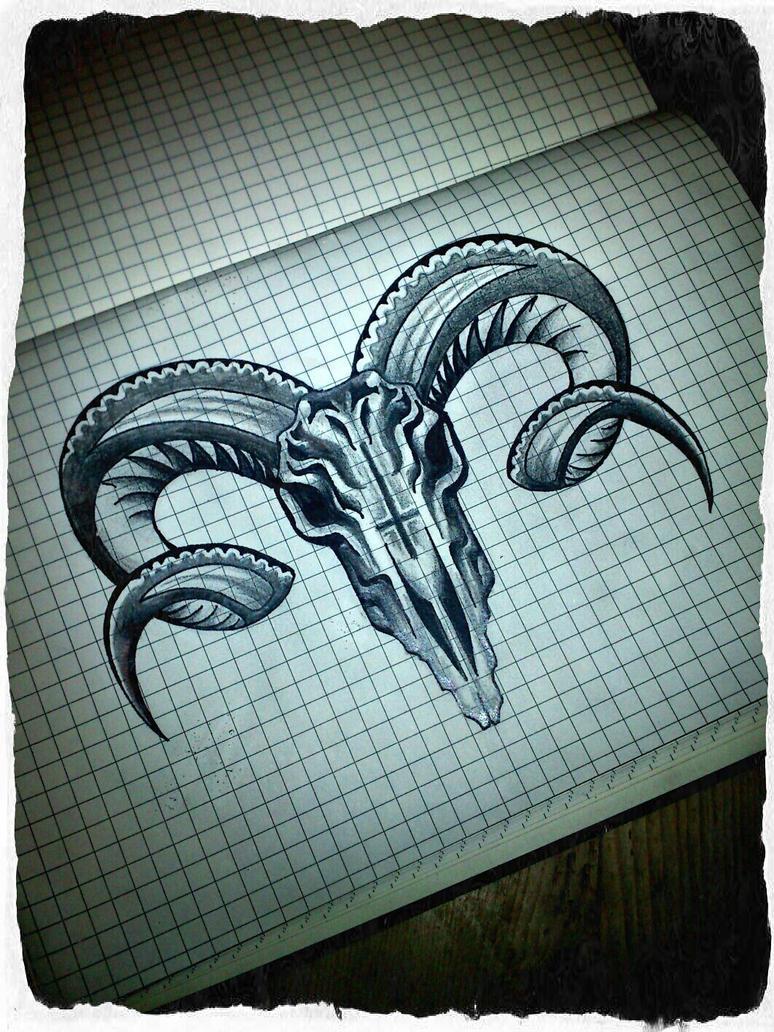 Evil Ram Skull by