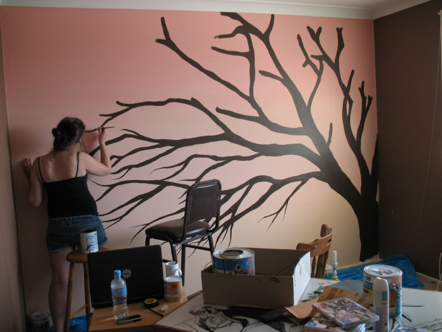 cherry blossom tree painting on wall painting cherry blossom tree. Black Bedroom Furniture Sets. Home Design Ideas