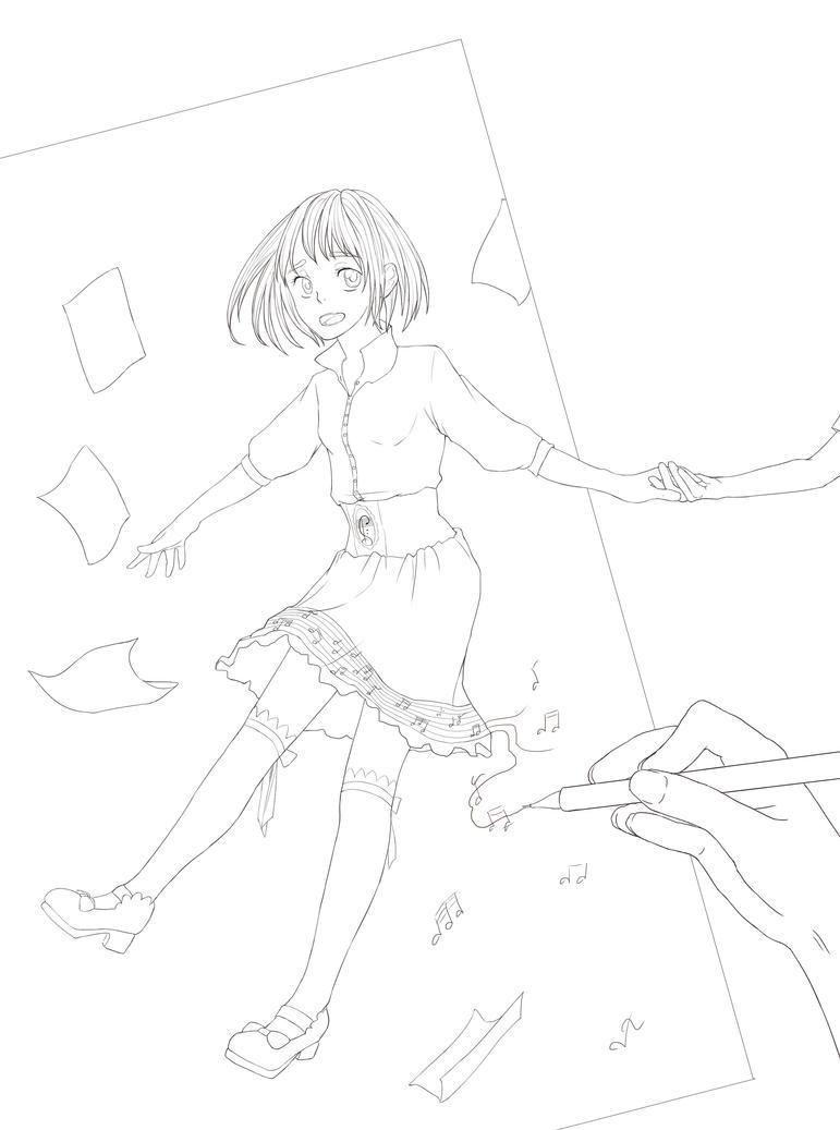 Natsu no uta lineart by RubeeAmadare
