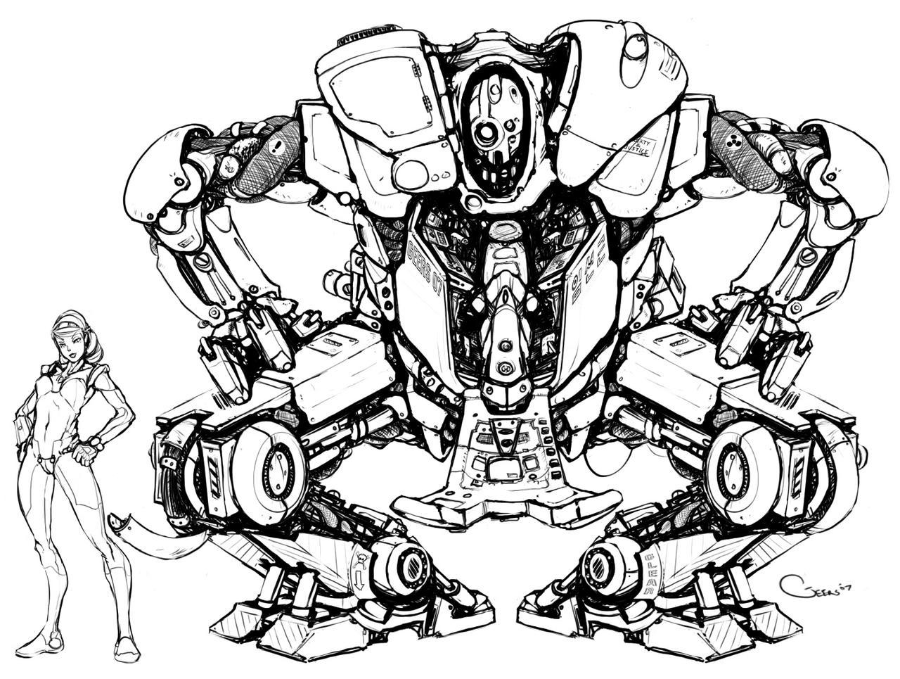 Art Line Work : Mech concept line work by darrengeers on deviantart