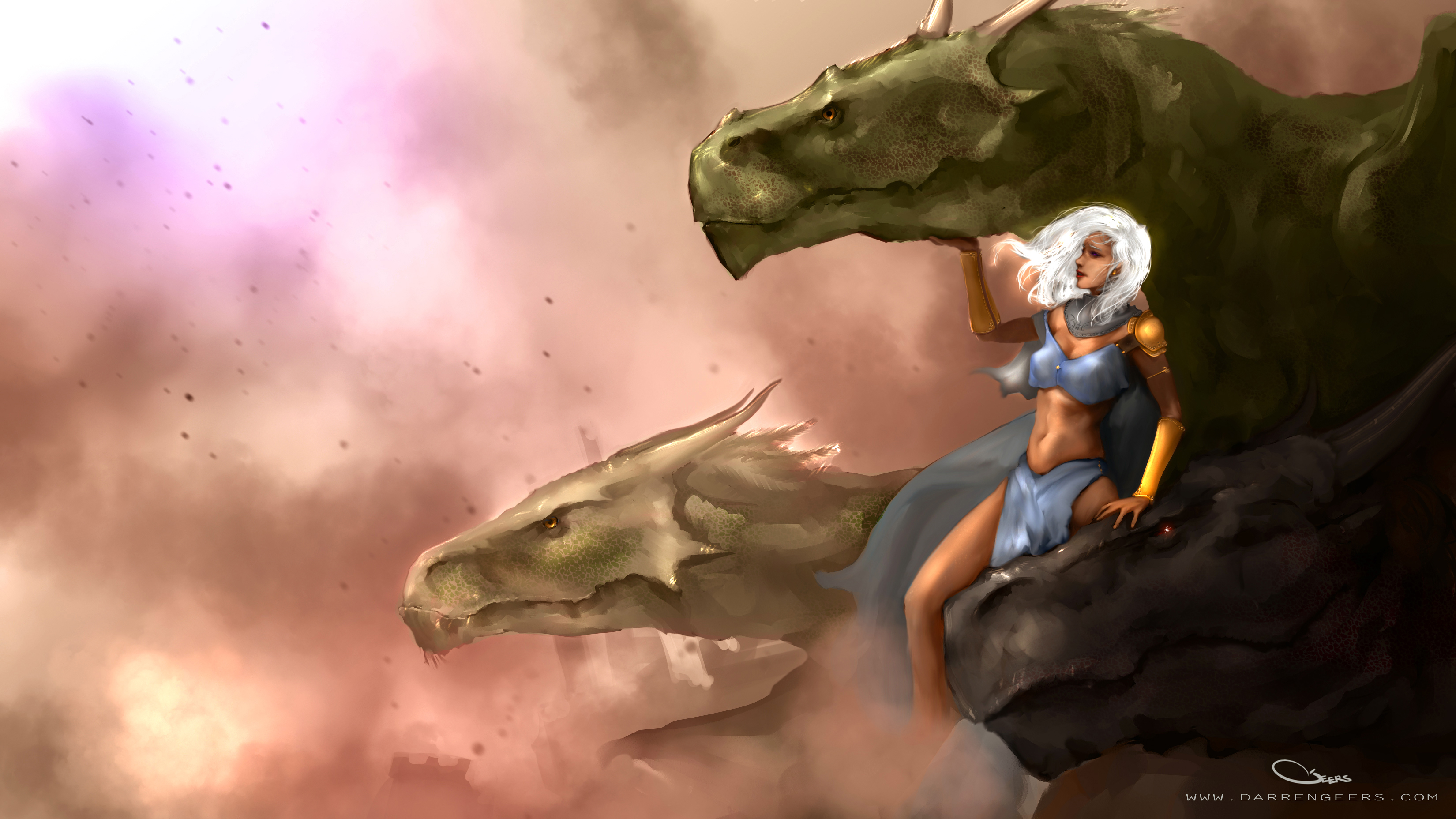 Dragons game of thrones colors -  Daenerys Targaryen And Dragons Game Of Thrones By Darrengeers