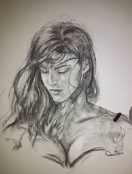Wonder Woman characoal on paper
