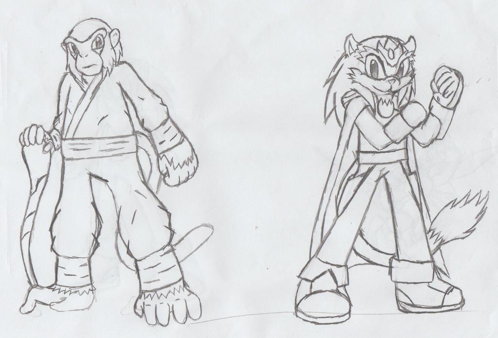 Rufus Primate y Hunter Leonardo by egrol-the-kimera