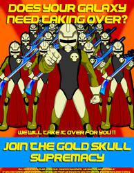 Gold Skull Supremacy Propaganda poster