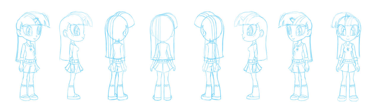 Human Twilight Sparkle character sheet sketch by Chano-kun