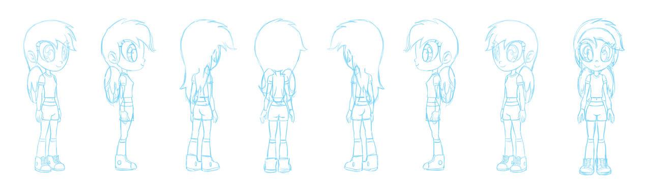 Human Rainbow Dash character sheet sketch by Chano-kun