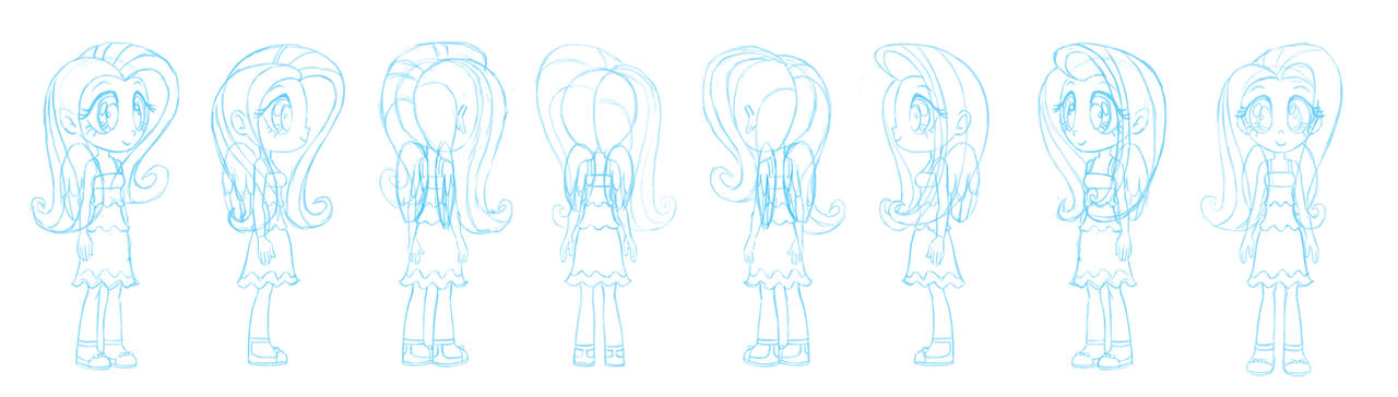 Human Fluttershy character sheet sketch by Chano-kun