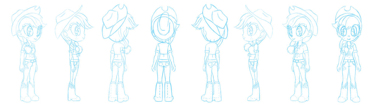 Human Applejack character sheet sketch by Chano-kun