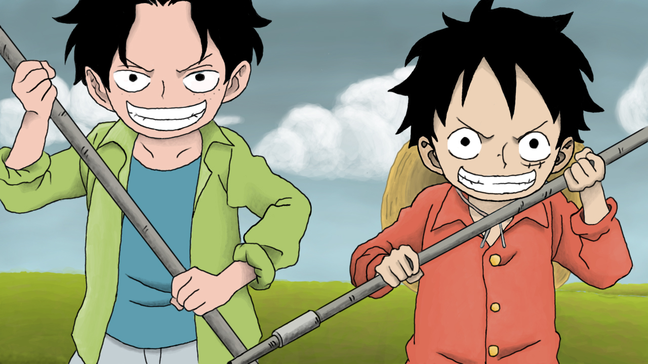 one piece ace and luffy back