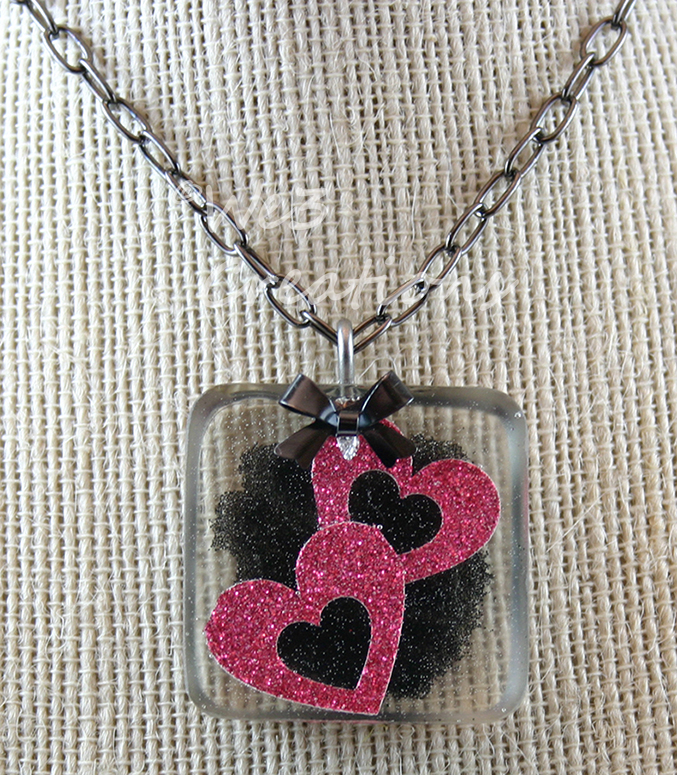 Hot Pink Double Heart and Bow Pendant by kelleejm1