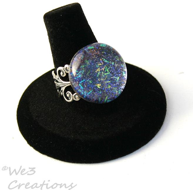 Blue Confetti Marble Ring by kelleejm1