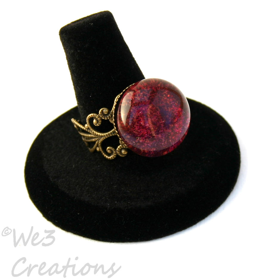 Elegant Red and Purple Marble Ring by kelleejm1