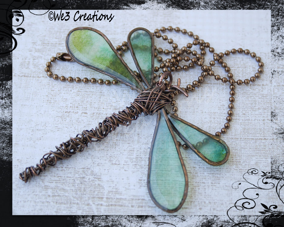 Copper Dragonfly Pendant- Greens by kelleejm1