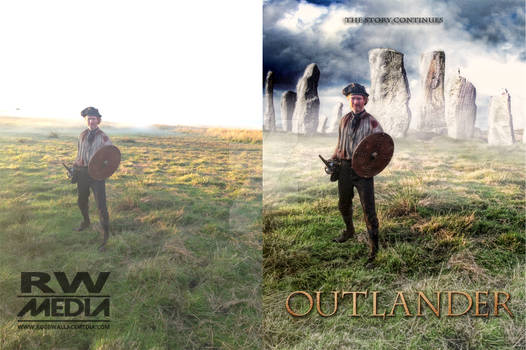 Before and after Outlander style photoshop