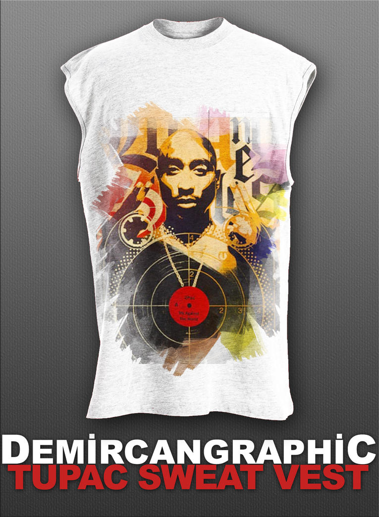 Tupac Sweat Vest by DemircanGraphic