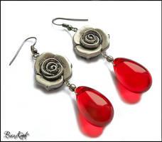 Blood Drops Roses by BaziKotek