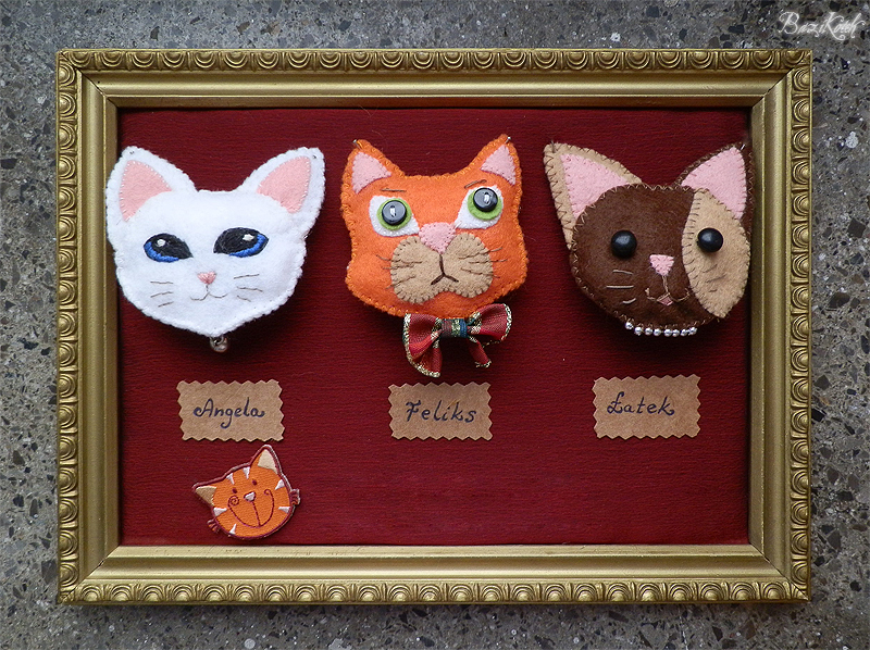 Cat brooches by BaziKotek
