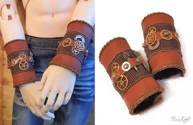 BJD Leather Steampunk Cuffs by BaziKotek