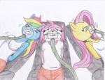 Rainbown dash, Amy and Flottershy