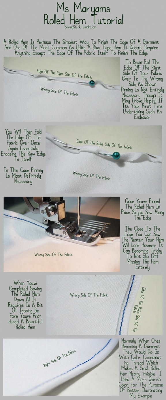 Sewingstuck - Rolled Hem Tutorial by Mostflogged