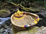 Basket Bowl with Floral Pips in Magical Forest