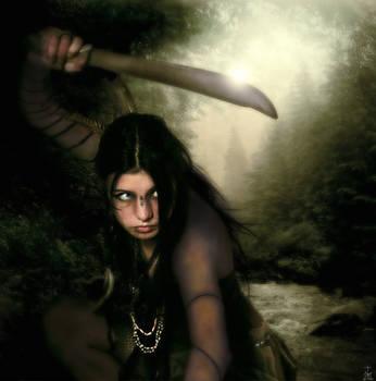 Native with machete by realdarkwave