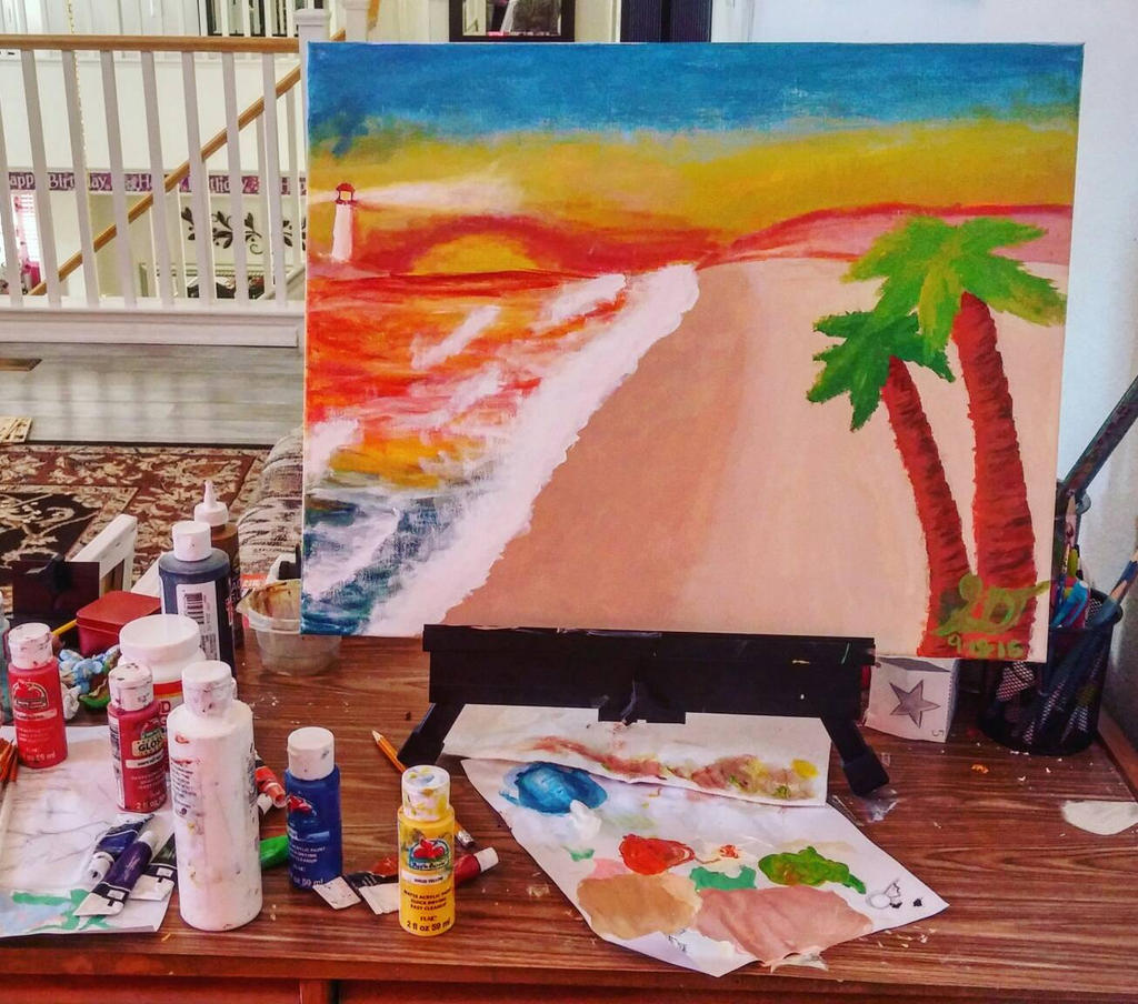 Beach Painting by xXSilvrTheShipprXx