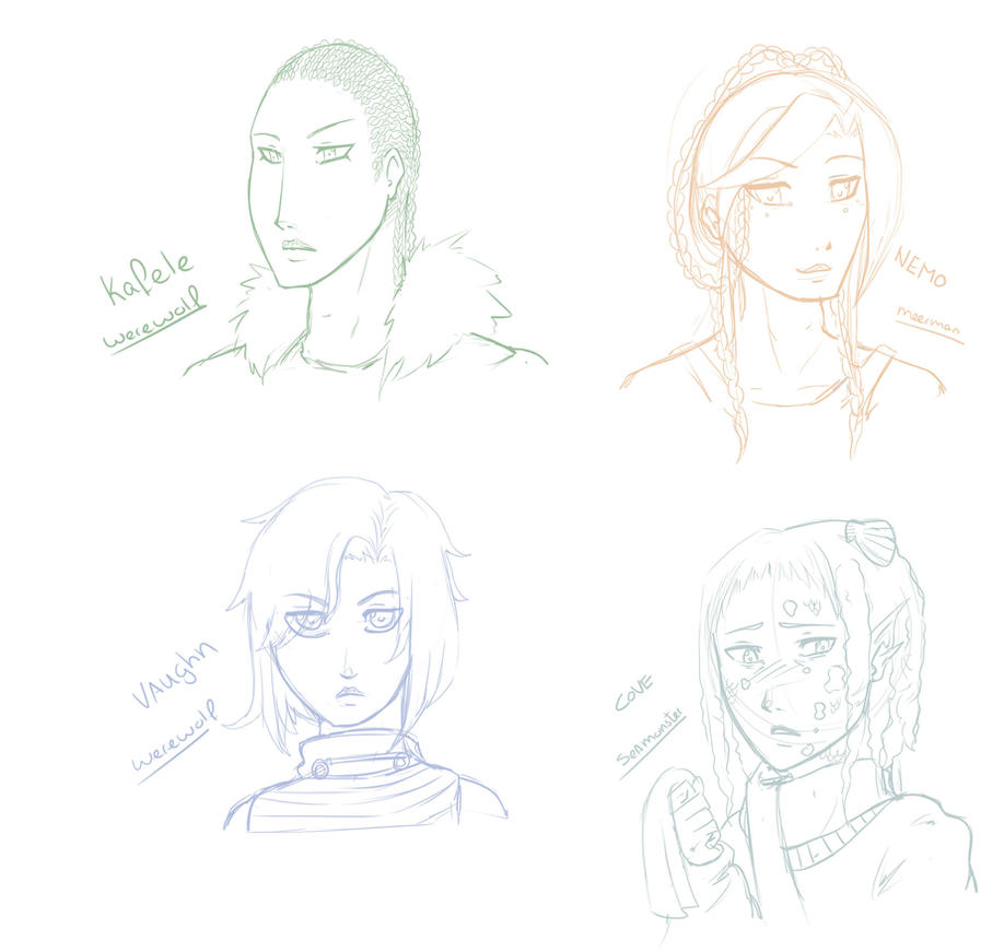 Headshot sketches by MangoGloor