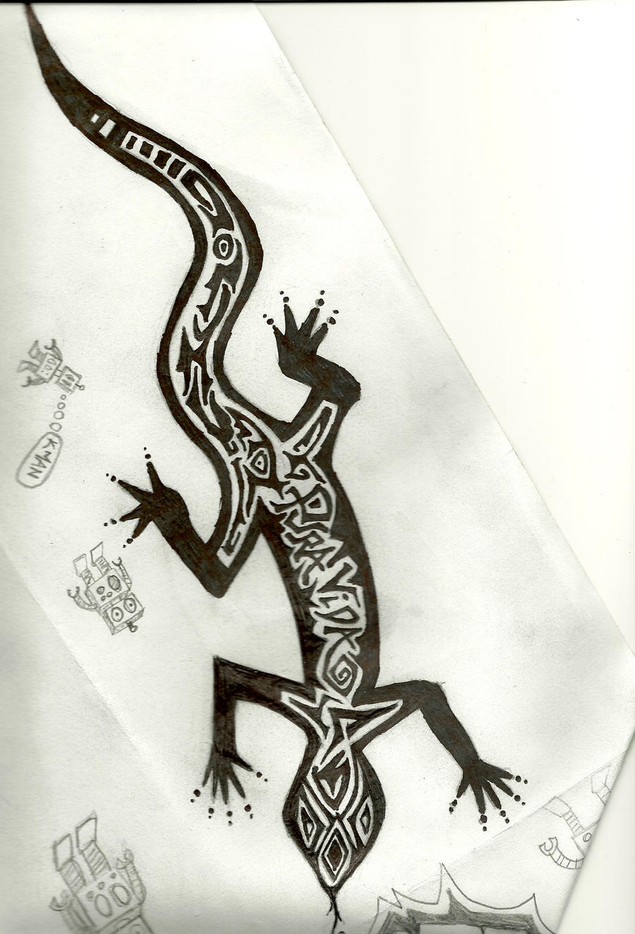 Tribal gecko tat by kman22 on deviantart for Gecko tattoo meaning