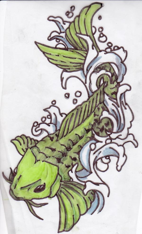 Green koi tattoos for Green koi fish
