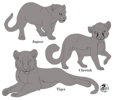 Big Cat Cubs Line Art Commission for LadyLirriea by Nojjesz