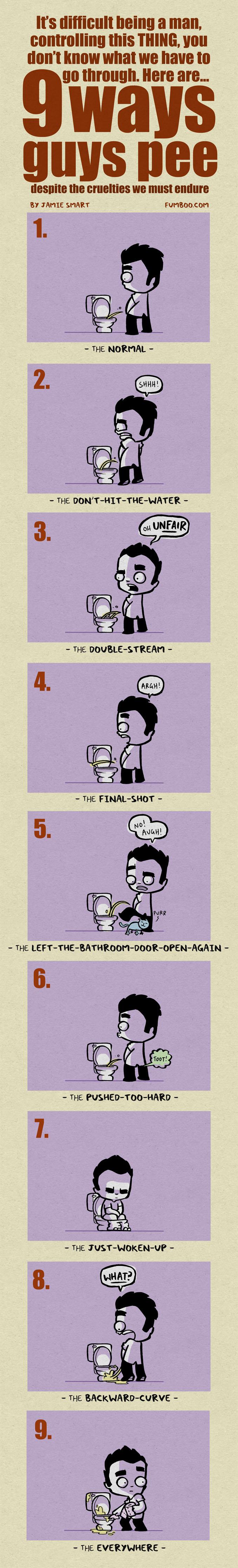 9 ways guys pee by icanseeyourmonkey