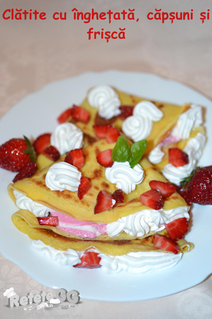 Pancakes with ice cream and strawberries by DanutzaP