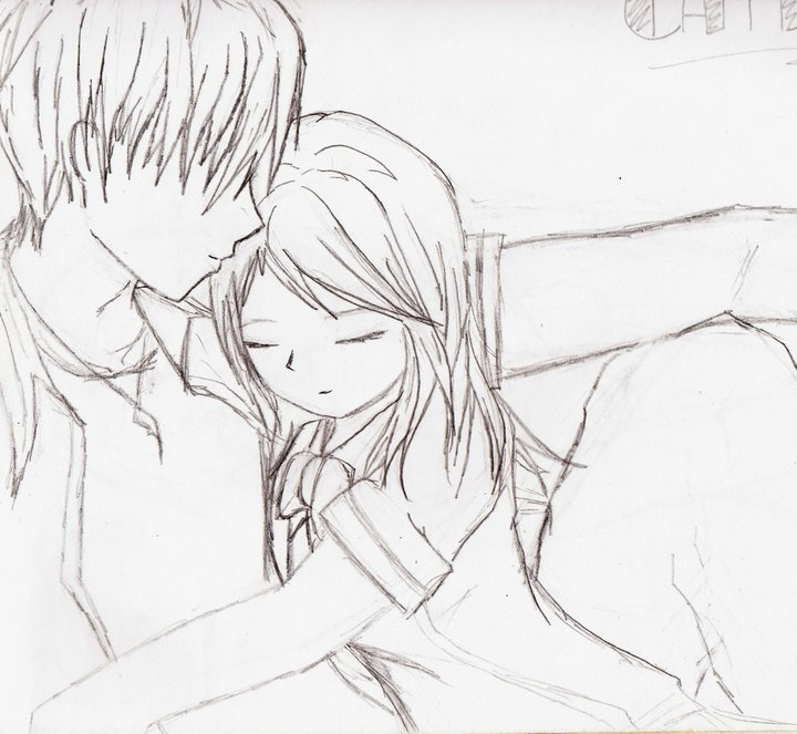 Love Each Other Coloring Page: Cute Anime Couple Hugging Coloring Pages