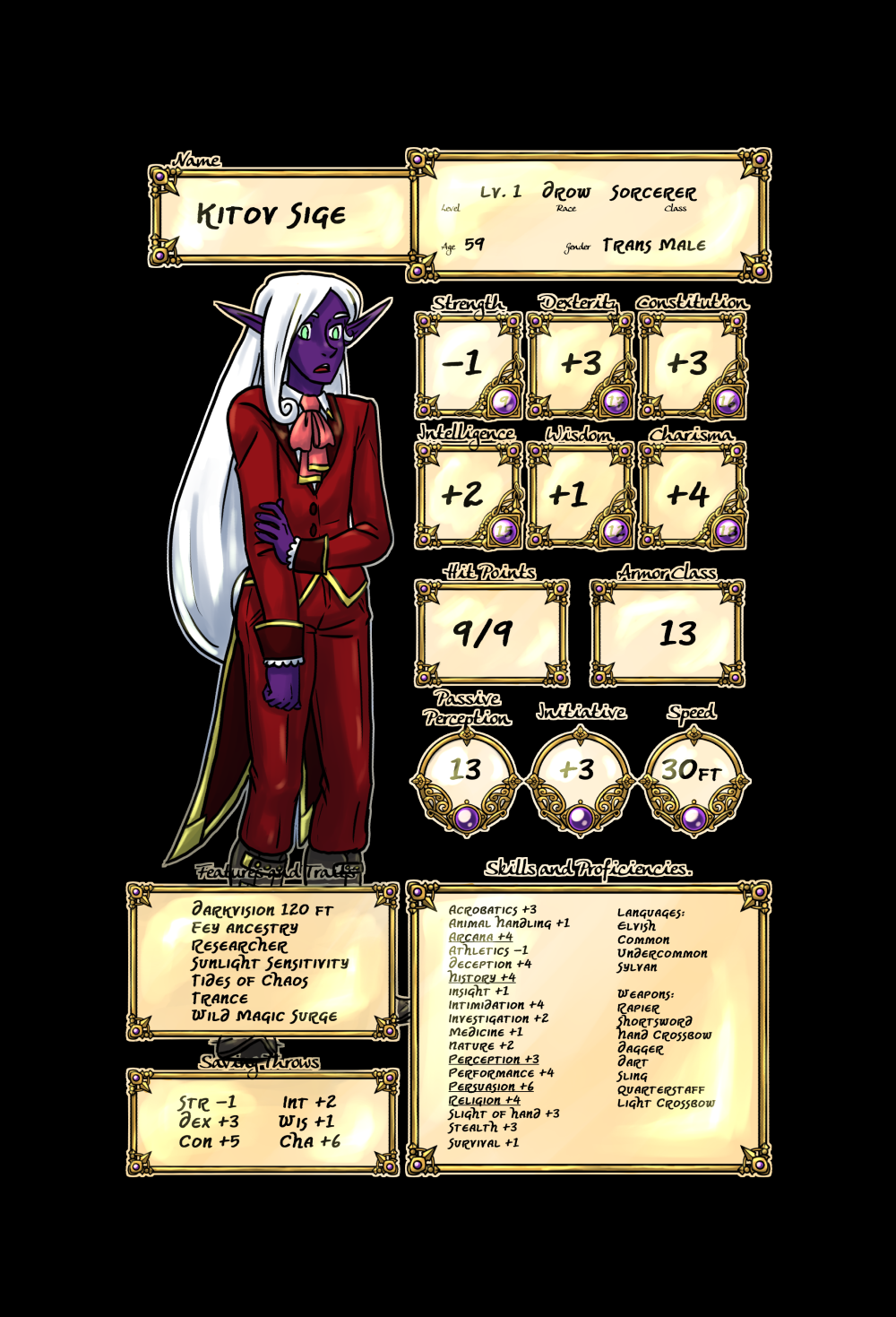 Crypts and Cantrips Kitov's character sheet by kytri
